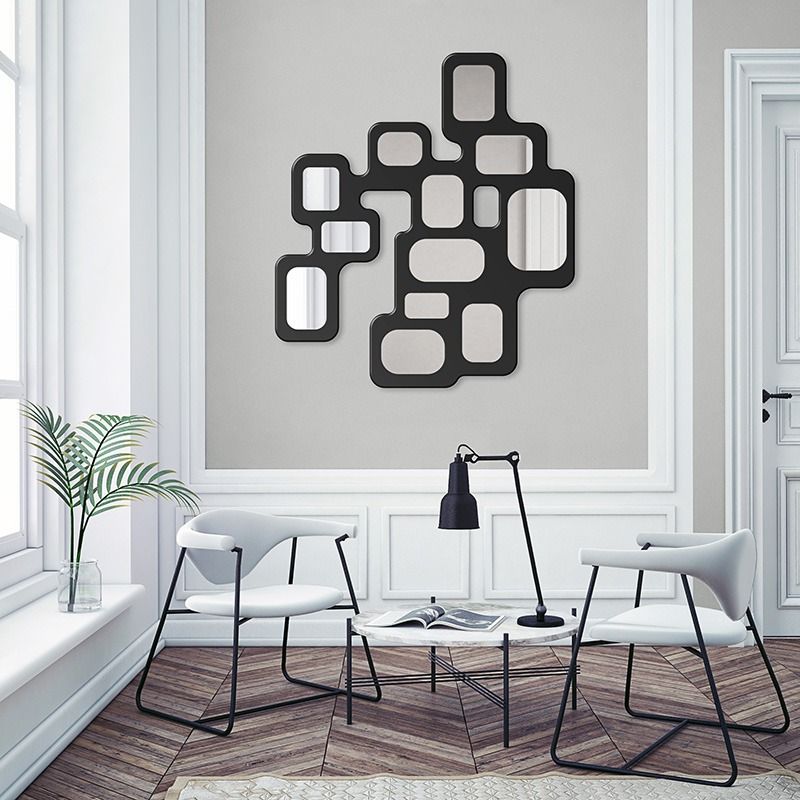 Lucio Wall Lamp, backlit modern design mirror, in living room with daylight
